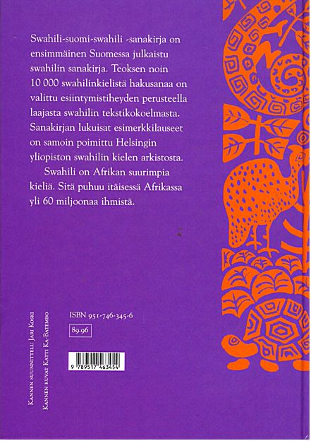 Uhusiano, sanakirja, takakansi